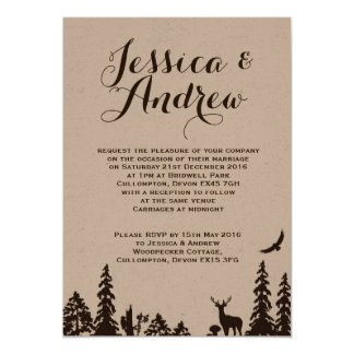 Woodland Brown Kraft Wedding Invitation