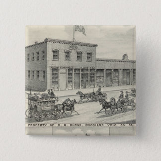 Woodland building, Yolo County farm 15 Cm Square Badge