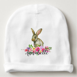 Woodland Bunny Rabbit Watercolor Floral Baby Monog Baby Beanie
