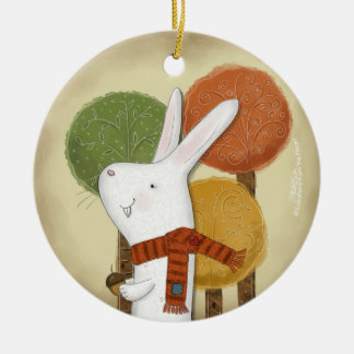 Woodland Bunny with Acorn Christmas Ornament
