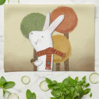 Woodland Bunny with Acorn Tea Towel