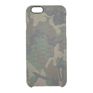 Woodland Camo Fabric Clear iPhone 6/6S Case
