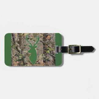 Woodland camo green deer head luggage tag