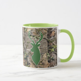 Woodland camo green deer head mug