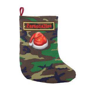 Woodland Camouflage Christmas Stocking, Santa Hat