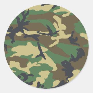 Woodland Camouflage Design Classic Round Sticker