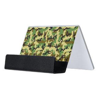 Woodland camouflage desk business card holder
