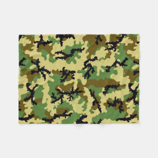 Woodland camouflage fleece blanket