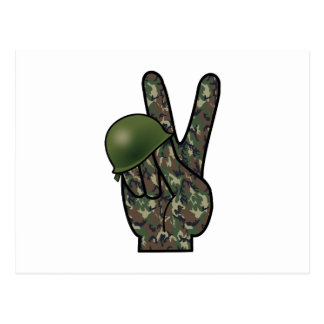 Woodland Camouflage Hand Victory / Peace Sign Postcard