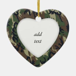 Woodland Camouflage Military Background Ceramic Heart Decoration