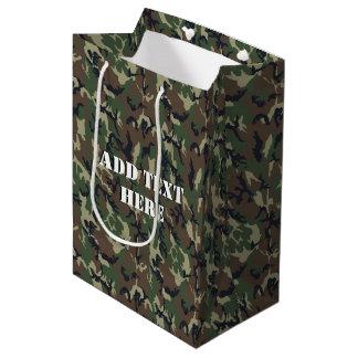 Woodland Camouflage Military Background Medium Gift Bag