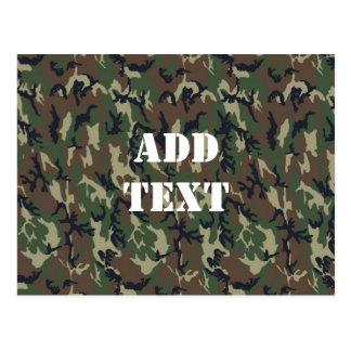 Woodland Camouflage Military Background Postcard