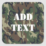 Woodland Camouflage Military Background Square Stickers