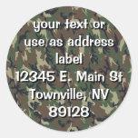 Woodland Camouflage Military Background Round Stickers