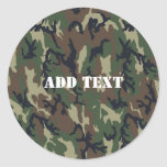 Woodland Camouflage Military Background Round Stickers