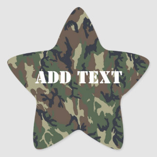 Woodland Camouflage Military Background Star Sticker