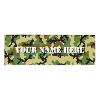 Woodland camouflage name tag