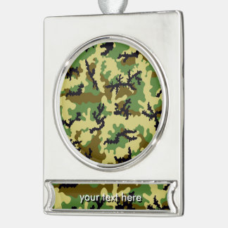 Woodland camouflage silver plated banner ornament