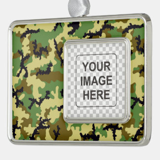 Woodland camouflage silver plated framed ornament