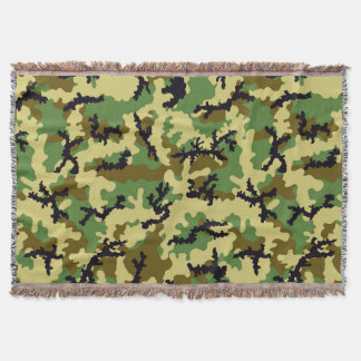 Woodland camouflage throw blanket