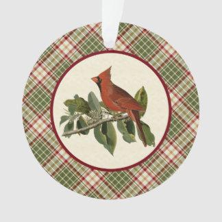 Woodland Christmas Plaid with Vintage Cardinal Ornament