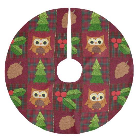 Woodland Christmas Tree Skirt Brushed Polyester Tree Skirt