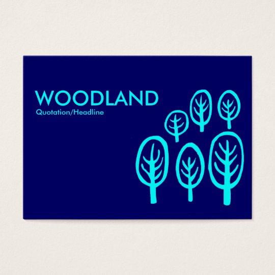 Woodland (Chubby) - Cyan on Dark Blue Business Card