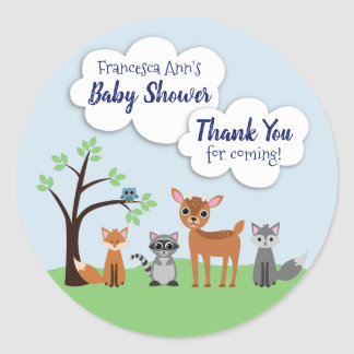 Woodland Creature Baby Shower Stickers