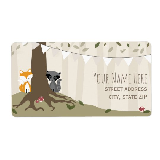Woodland Creatures Neutral Baby Shower Label