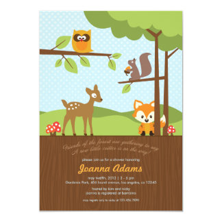 Woodland Critters Baby Shower Invitation