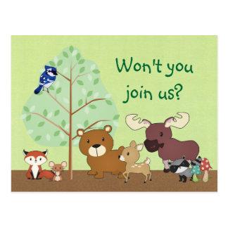 Woodland Critters Invitation POSTCARD