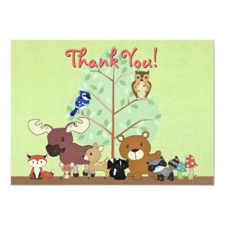 Woodland Critters Thank You Card 13 Cm X 18 Cm Invitation Card