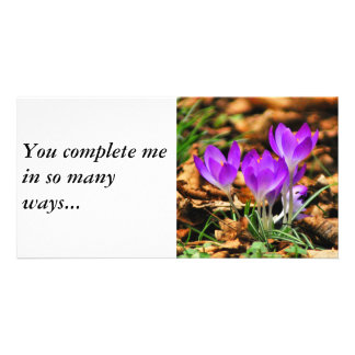 Woodland Crocuses, You complete me in so many way Photo Greeting Card