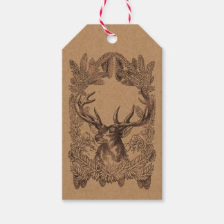 Woodland Deer Christmas Rustic Kraft Forest Tartan Gift Tags