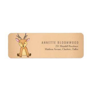 Woodland Deer Flowers Forest Baby Shower Return Address Label