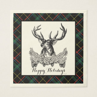 Woodland Deer Holiday Plaid Paper Napkins