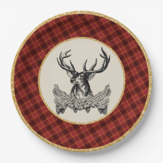 Woodland Deer Holiday Plaid Paper Plate 9 Inch Paper Plate