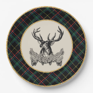 Woodland Deer Holiday Plaid Paper Plates 9 Inch Paper Plate