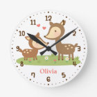 Woodland Deer Mother and Child Kids Room Decor Round Clock