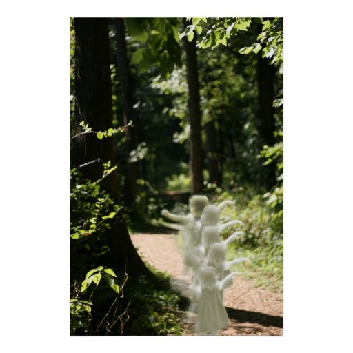 Woodland Fairies in Enchanted Forest Print