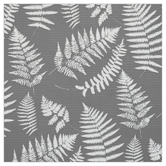 Woodland Fern Pattern, Gray / Grey and White Fabric