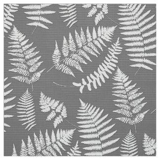 Woodland Fern Pattern, Gray / Grey and White Fabric