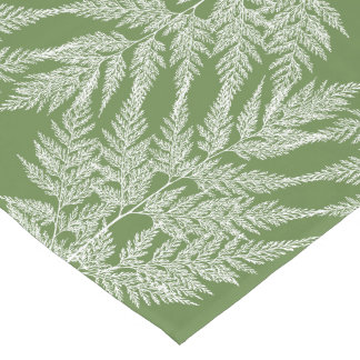 Woodland Fern White Silhouette Pattern Short Table Runner