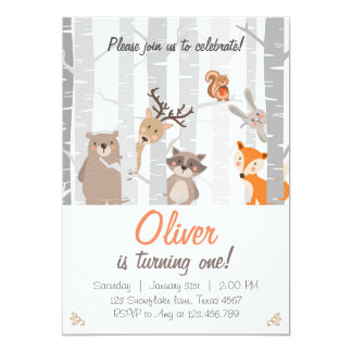 Woodland First Birthday Invitation Forest Animals