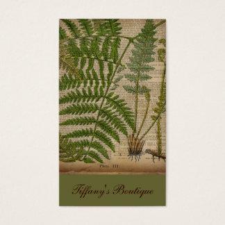 woodland foliage french botanical print fern business card