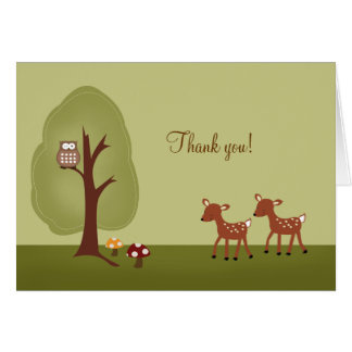 WOODLAND Forest  2 Deer Folded Thank you note Card