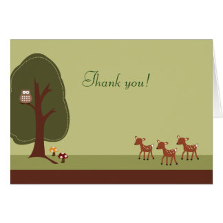 WOODLAND Forest 3 Deer Folded Thank you note Card