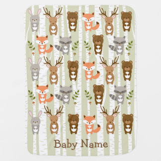 Woodland Forest Animal Baby Shower Baby Blanket