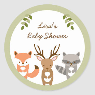 Woodland Forest Animal Baby Shower Classic Round Sticker