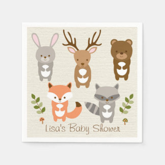 Woodland Forest Animal Baby Shower Paper Napkin